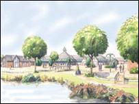 Artist's impression of the new village