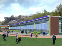 Artist's impression of a planned school at the site