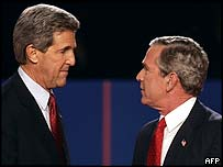 John Kerry and George W Bush after their final debate