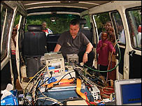 Kevin Bishop in the operations van