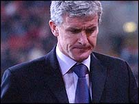Mark Hughes was a dejected figure after his last game in charge