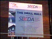 Sign outside drill hall
