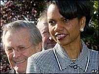 Defence Secretary Donald Rumsfeld and White House National Security Adviser Condoleezza Rice