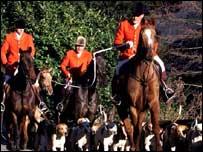 Huntsmen, horses and hounds
