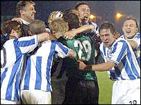 Brighton players celebrate their victory