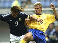 Alexandersson in action against Argentina at the last World Cup