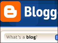 Blogger homepage, Google