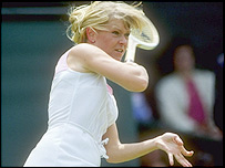 Sue Barker in action at Wimbledon