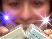 Aparato que emite luz blanca utilizando puntos cuánticos (Gentileza: Laboratorios Sandia)