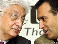 Wipro chairman and owner Azim Premji (left) listens to vice-chairman Vivek Paul