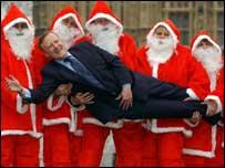 Kevan Jones with protesting Santas