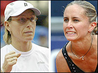 Martina Navratilova (left) and Gisela Dulko meet in the French Open first round