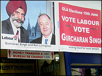 Election poster in Southall