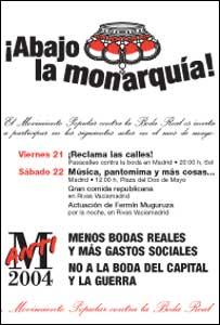 Cartel del Movimiento Popular contra la Boda Real