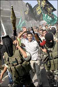 Palestinian rally during a funeral of a man killed in an Israeli raid in Gaza. Archive picture