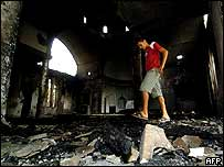 One of the churches damaged in the blasts