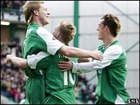 Garry O'Connor celebrates putting Hibs in front