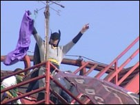 Protesters on The Big One at Blackpool