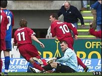 Derek Adams wheels away after opening the scoring at Pittodrie