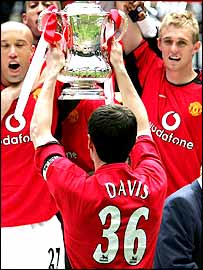 Man Utd's players wore Jimmy Davis' number 36 shirt after their FA Cup win