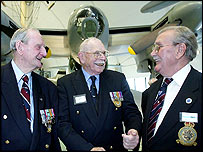 George Cash, 83, (left) Joe Patient, 87, and Albert Bernard, 82, (right)