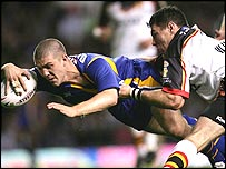 Matt Diskin on his way to Leeds' first try in the Super League Grand Final