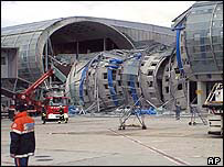 Collapsed section of terminal 2E at Paris Charles de Gaulle airport
