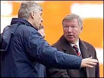 Man Utd boss Sir Alex Ferguson (right) and Arsenal manager Arsene Wenger