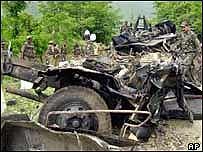 Kashmir bus blast wreckage