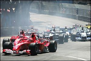 Ferrari team-mates Michael Schumacher and Rubens Barrichello come within close proximity of each other on the streets of Monte Carlo