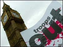 Protest banner near Parliament