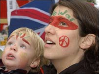 Anti-war protesters of all ages attended the London march