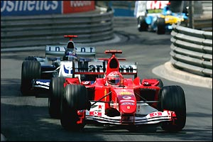 Schumacher's hopes of a sixth straight win ended, along with his race, after a collision with Juan Pablo Montoya