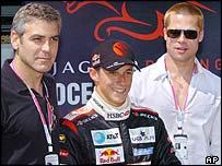 Jaguar's Christian Klien with Oceans 12 stars George Clooney and Brad Pitt in Monaco