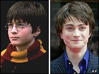 Daniel Radcliffe in 2001 and 2004