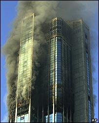 Blazing building