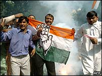 Congress supporters celebrate in Mumbai