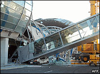 Collapsed part of building at Charles de Gaulle-Roissy airport