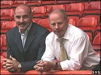 Willie Miller (left) with Aberdeen chairman Stewart Milne