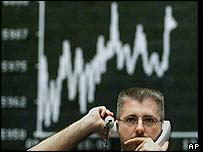 Trader at Frankfurt Stock Exchange, AP
