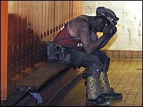 A miner on his last day at Stillingfleet Colliery in Yorkshire