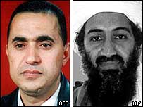 Abu Musab al-Zarqawi, left (image from US Department of State), and Osama Bin Laden (image from FBI)