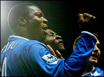 Yakubu celebrates his goal for Portsmouth against Spurs