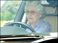 The Queen at the wheel