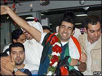 Kuwaiti Bashar al-Shatti arriving home after Star Academy contest