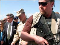 Private security guards protect Paul Bremer