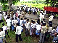 Locals gather at the scene of Veerappan's death