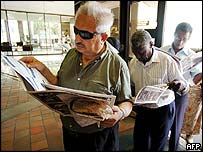 Voters queue in Dade County, Florida
