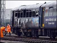 Train being examined near Temple Meads station
