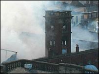 Smoke from fire at Ashton market hall